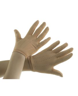 JiV G2SW Huidkleurige competitie handschoenen met crystals (competition gloves with crystals)