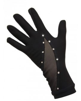 .Gloves crystal with mesh black